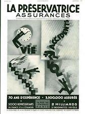 Publicité ancienne assurance la préservatrice 1936 issue de magazine
