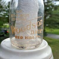 Vintage Milk Bottle WOODSONS DAIRY Red Hill PA Montgomery Half Pint Pyro Round