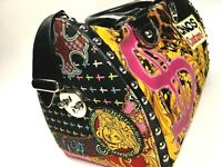 VERSACE VINTAGE '04 STUDS HANDBAG CHAOS COUTURE PRINTED CANVAS LEATHER LOCK