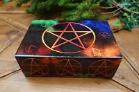 Laminated Wooden Box With Colourful Pentagram Design (O44)