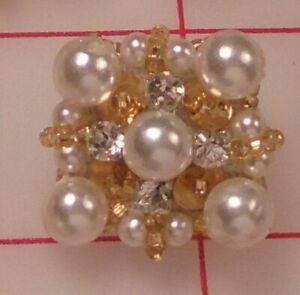 """2 Luxurious Vintage Hand Beaded Shank Buttons 1"""" Square White And Gold"""