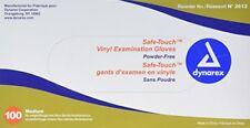 Dynarex Safe-Touch Vinyl Examination Gloves Powder-Free Medium 100 Count