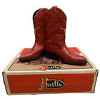 Vintage Justin Boot Co. Red Leather Boots With Longhorn Youth Size 12.5 D