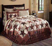 Abilene Star King Quilt Burgundy/Brown Primitive/Americana Farmhouse VHC Brands