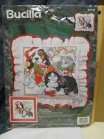 Bucilla SANTA PAWS  Cats & Dog Stamped Cross Stitch Pillow or Picture Kit