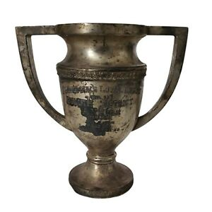 """Antique Business Trophy Cup 1930 Vintage 9.5""""W 10""""Tall"""