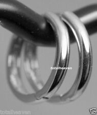 "1.1g Classic Solid 14K White Gold Huggies Hoop Earrings 1/2"" x2mm Heavy GORGEOUS"