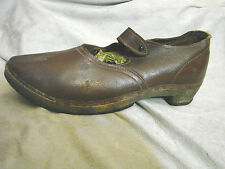 Vintage 40s Leather Shoes WOOD SOLES Clogs Clogger Strap Brown 9.5 Folk Cobbler