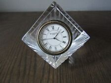 Waterford Lead Crystal Meridian Cube Desk Clock Signed w/Label