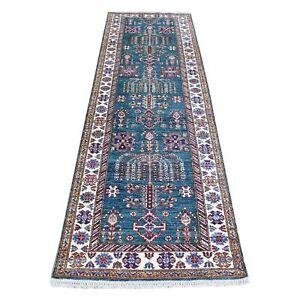 "2'8""x8'10"" Teal Hand-Knotted Pure Wool Super Kazak Oriental Runner Rug R55831"