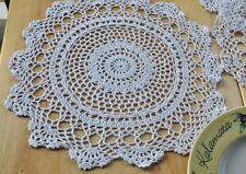 "6PCS 12"" Chic White Round Hand Crochet Cotton Doily cupmat 30cm Rural Feeling"