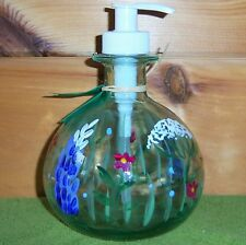 White Gate Glass Boyd&Doyle Lotion Soap Pump BOTTLE Painted LUPINE Wildflower