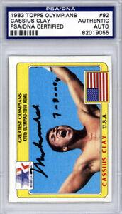 "Muhammad Ali Autographed 1983 Topps Olympians Card #92 ""7-30-94"" PSA 82019055"