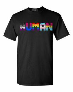 Human T-shirt LGBT Gay Pride Month Transgender Rainbow Equal Shirts