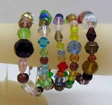 Lot of 5 Stretch Bracelets ~ Mixed Glass Beads ~ 4-12mm ~Various Colors + Shapes