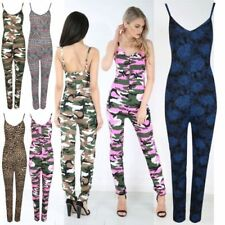 Viscose Strappy, Spaghetti Strap Camouflage Jumpsuits & Playsuits for Women