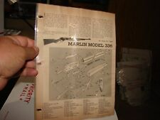 MARLIN Model 336 Rifle EXPLODED VIEWS 1957 Magazine Article