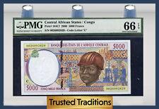 TT PK 104Cf 2000 CENTRAL AFRICAN STATES / CONGO 5,000 FRANCS PMG 66 EPQ GEM