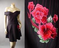 50s Rockabilly Pinup Swing Rose Embroidery Off Shoulder 238 mv Dress 1XL 2XL 3XL