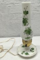 VINTAGE WHITE MILK GLASS GREEN IVY TABLE LAMP BOUDOIR NIGHT STAND LIGHT w/ SHADE