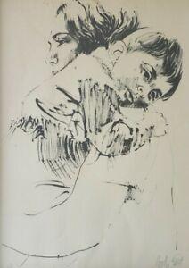 Signed Mother & Child 94/150 Vintage Lithograph Print Israeli Artist Moshe Gat