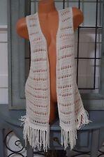 Victoria's Secret swim cover up white crochet open front vest fringe Small S $50