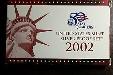 2002-S US Mint Silver Proof Set Includes Silver State Quarter Proofs - Box & COA
