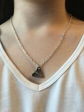 Silver Tiny Origami Paper Airplane Plane Pendant Necklace - Fashion Jewelry