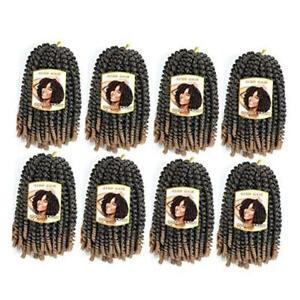 8 Pack Spring Twist Crochet Braiding Hair 8 Inch Bomb Twist 8 Inch-8PCS T27#