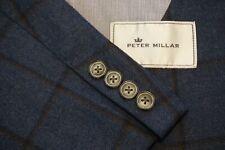 Peter Millar Blue Windowpane Flannel Wool Sport Coat Jacket Sz L