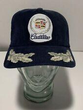 Vintage Blue Corduroy Cadillac Snapback Trucker Hat Cap Nice!
