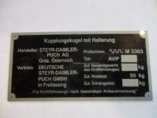 Placa IDENTIFICADORA STEYR PUCH Haflinger ahk PANEL ABOLLADURAS PINZGAUER S26