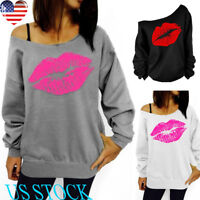Women Oblique Shoulder Long Sleeve Top Casual Pullover Lips Print Blouse Sweater