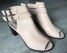 Topshop Jolie Double Strap Heels Open Toe Sandals Size US 9.5 Nude Top Shop R$95