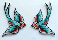 2 BUNTE Schwalben Aufnäher / patch SET Lucky Swallow Rockabilly Punk COOL MOD