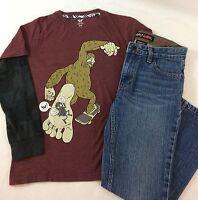251abc2736f630 Shawn White Long Sleeve Gorilla Shirt Tony Hawk Slim Blue Jeans Outfit Boys  10 M
