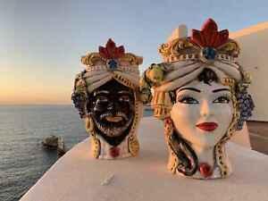 teste di moro Siciliano Vaso in ceramica di Caltagirone H27 faccia testa viso