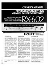 Rotel RX-602 Receiver Owners Instruction Manual