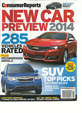 CONSUMER REPORTS, NEW CAR PREVIEW 2014,  ( 285 VEHICLES RATED RECOMMENDED MODELS