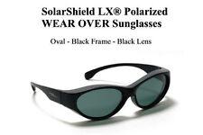 Oval Fit Overs Solar Shield Polarized Sunglasses Black/Smoke Wear Over Glasses