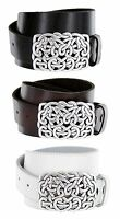 Hearts Made in Italy Silver Buckle with Genuine Leather Casual Belt
