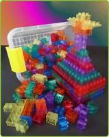 300-teilig TRANSPARENTE Lego-Duplo* kompatible BAUSTEINE in BOX  30-55