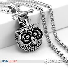 Vintage 3D Owl Bird Head Stainless Steel Pendant Sweater Necklace Rock Cute P24
