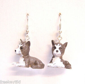 "NEW Siberian Husky Huskies Dogs Puppies 1"" Mini Figures Dangle Earrings"