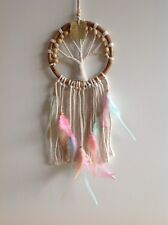 16cm Tree Of Life Dream Catcher Rattan Circle Apricot Pink Green &White Feathers