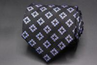 Current STEFANO RICCI Silk Tie. Black w Blue & Yellow Diamond Geometric.
