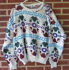 Vintage 80s 90s Sweater Southwestern Size Large L Italy Abstract Geometric