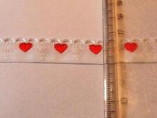 Posamentenborte Borte Band Herzen rot Herz hochwertig gewebt Meterware 15mm br.