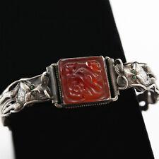 Vintage Sterling Silver Dragon Carnelian Bird Hinged Bracelet - Signed