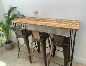 Rustic Breakfast Bar, with Steel Hairpin Legs